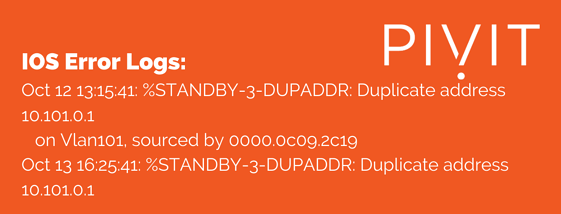 HSRP error 1 standby SUPADDR message example at pivit global