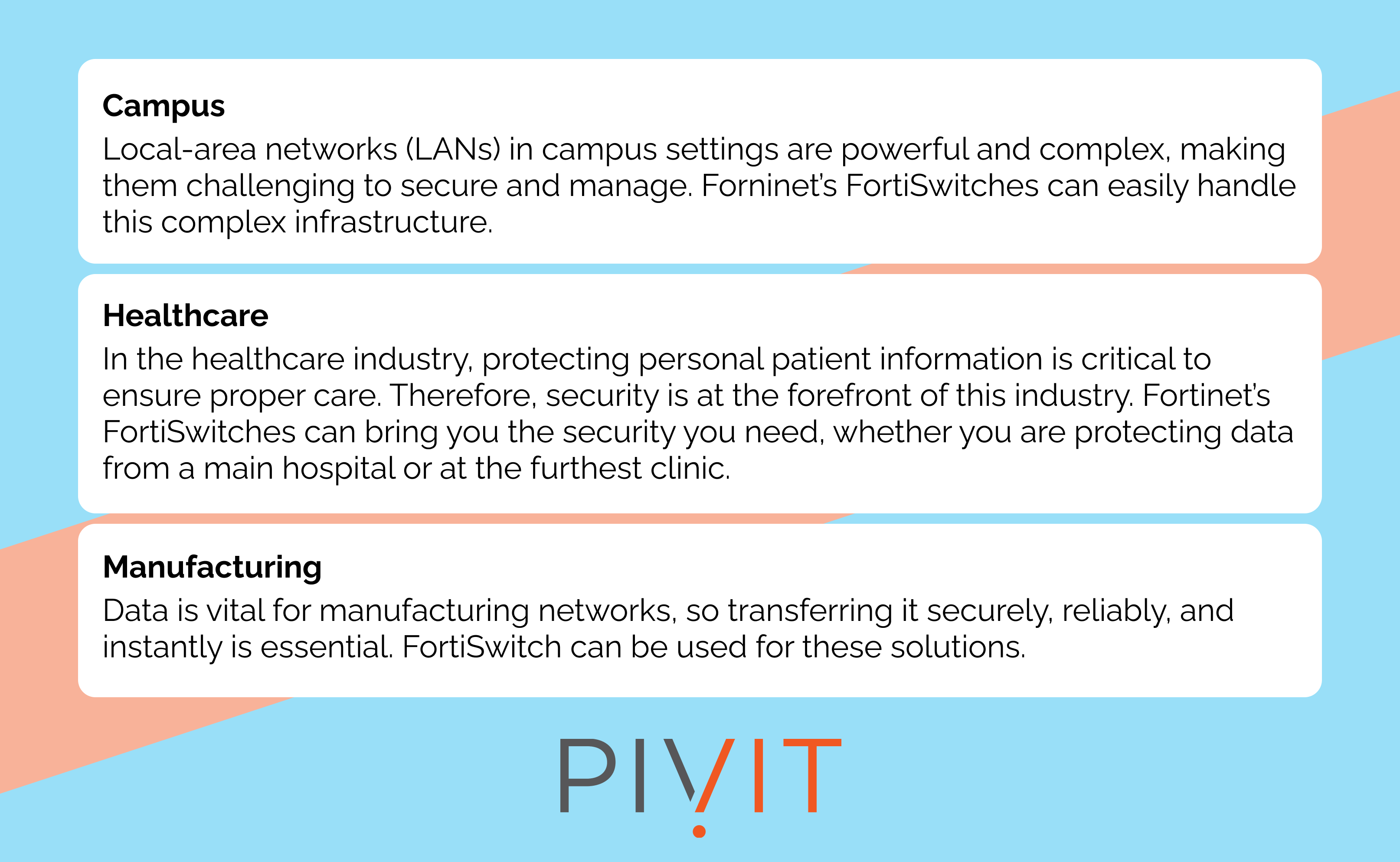 Fortinet FortiSwitch use cases such as campus, healthcare, and manufacturing
