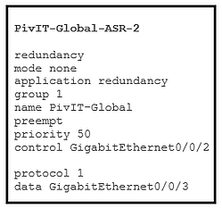 asr 2 configuration command redundancy at pivit global