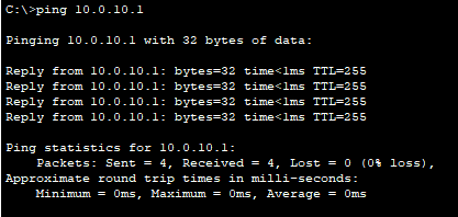 verify ping from VLAN 10 PC1 to SVI VLAN 10