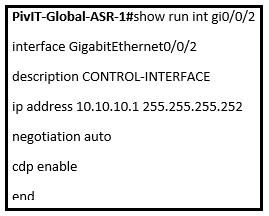 control interface asr 1 configuration commands at pivit global