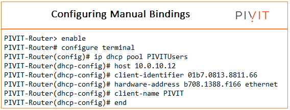 configuring manual binding in DHCP at pivit global